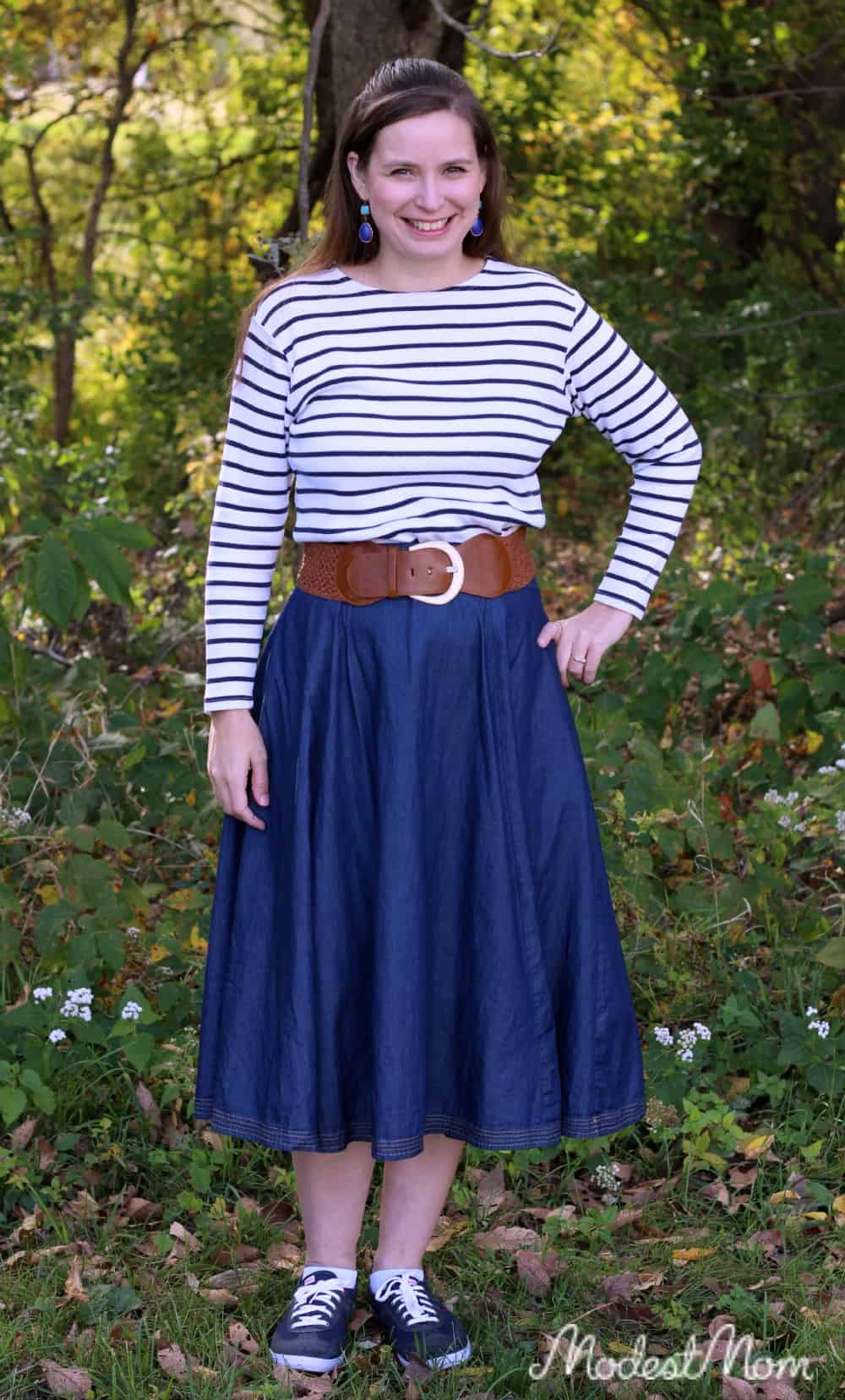 b61b879a3 Chambray skirt with a striped black and white long sleeve top made a good  outfit for