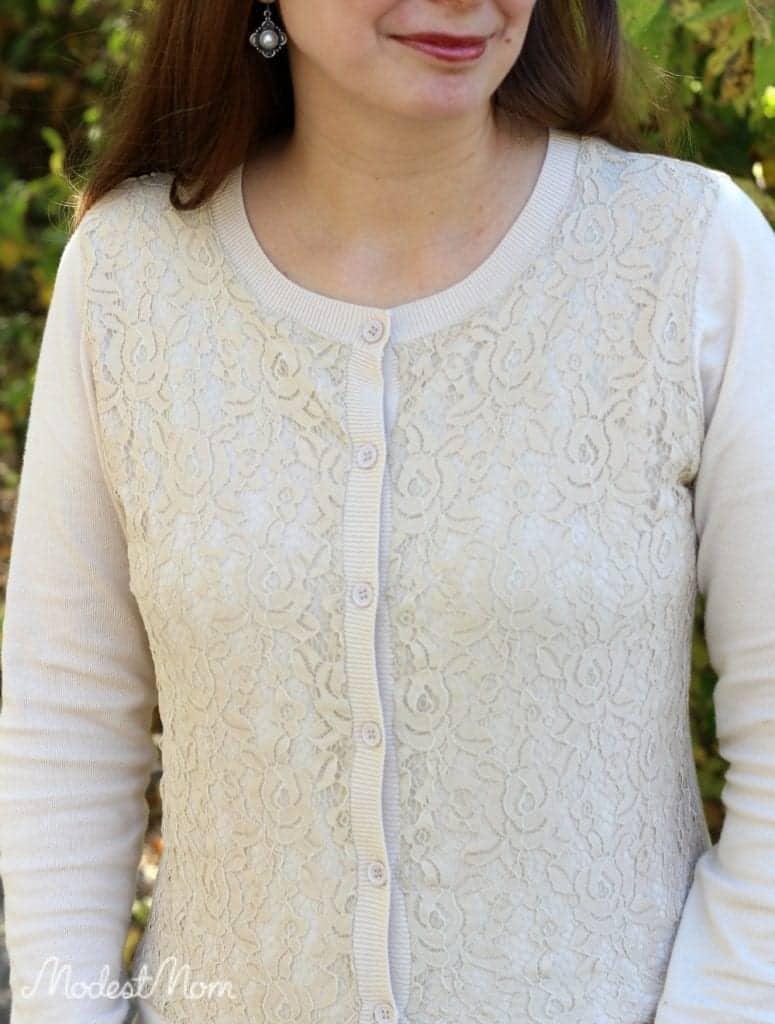 Cream lace cardigan from Deborah & Co. store.
