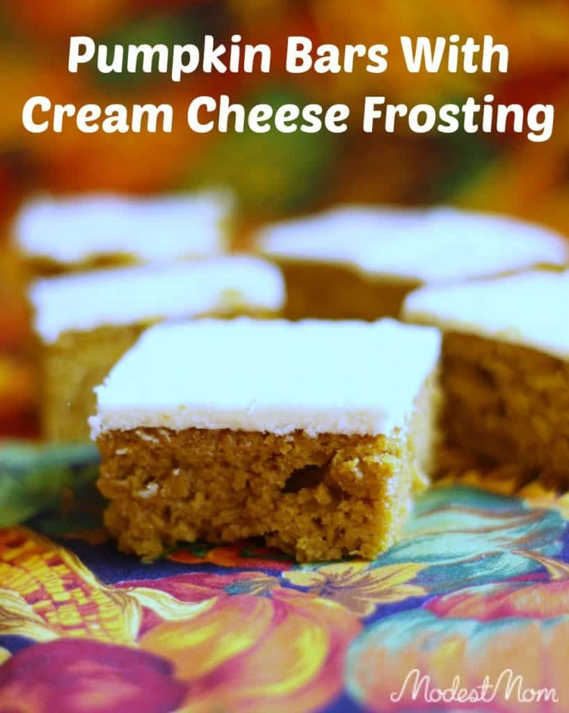 Pumpkin Bars with Cream Cheese Frosting for a yummy fall treat!