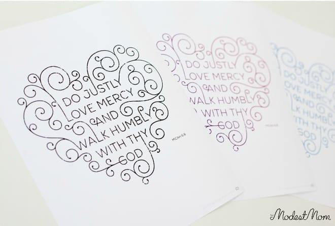 Hand drawn scripture art prints.