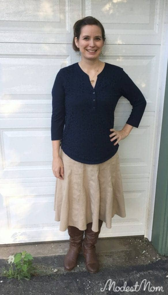 Tan skirt with blue shirt and boots for fall!