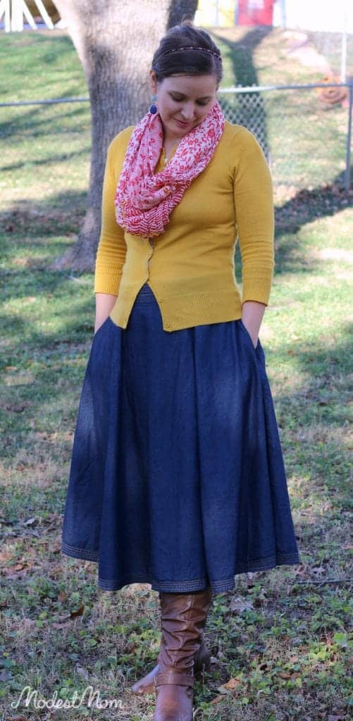 Chambray skirt with brown boots, mustard cardigan and a scarf!
