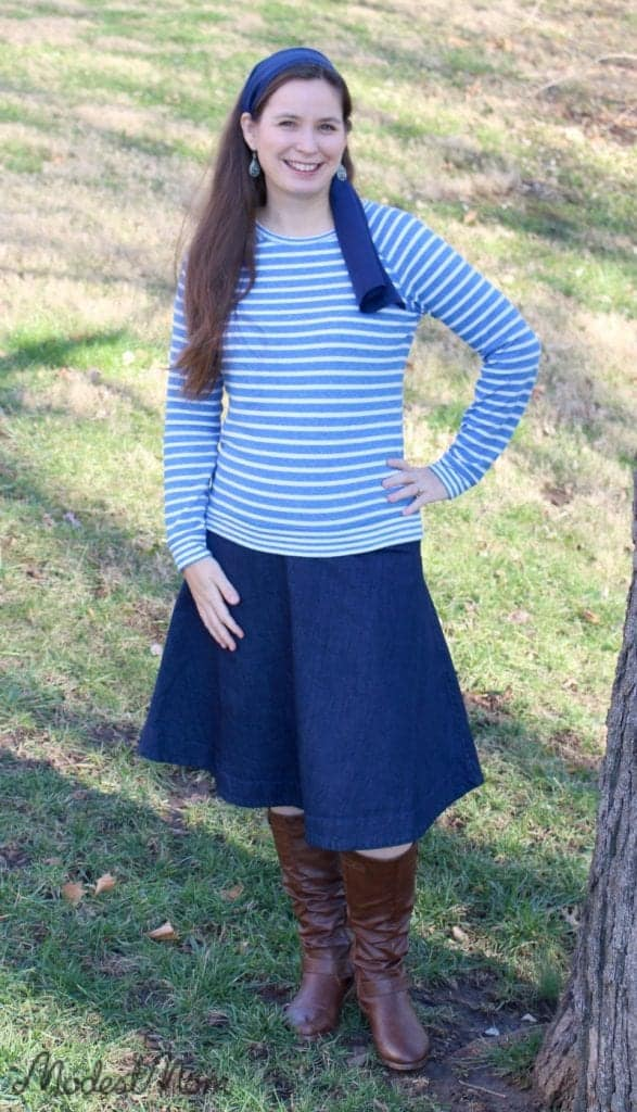 A knee length denim skirt with a comfortable striped sweatshirt and a fun blue scarf for my hair!