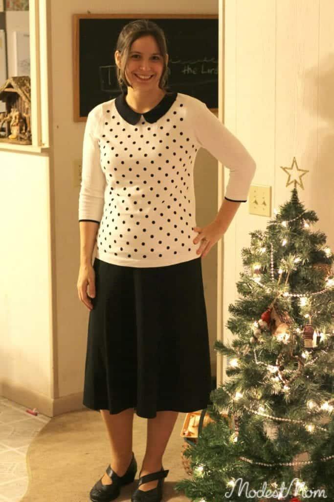 Polka Dot sweater with black skirt