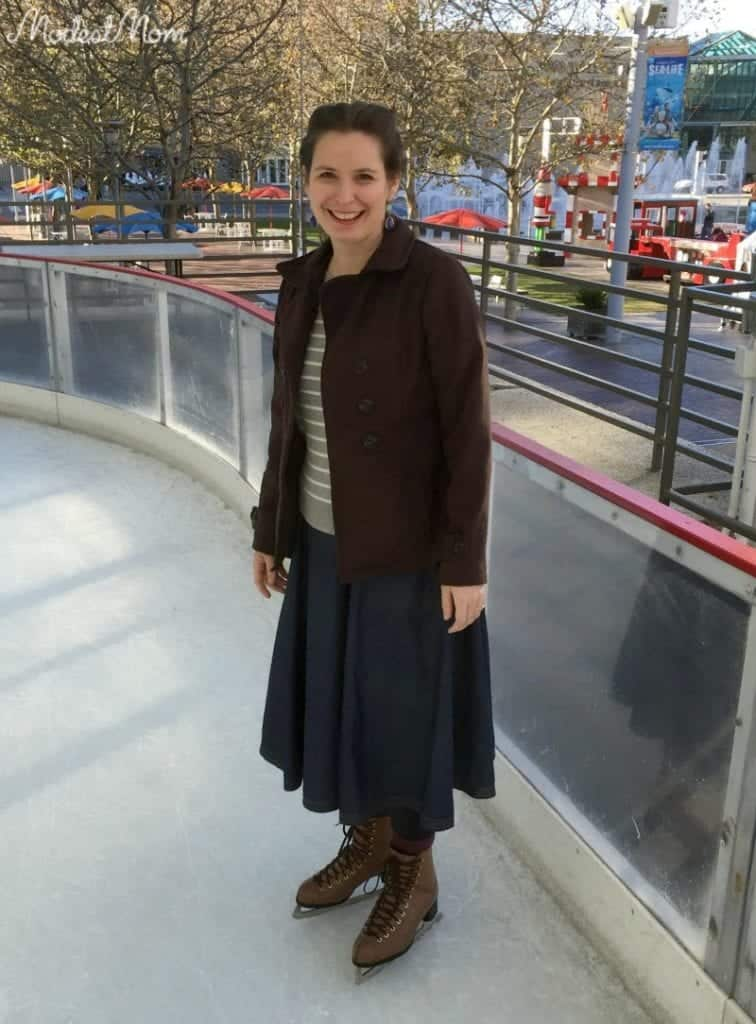 Ice Skating with a skirt and leggings on.