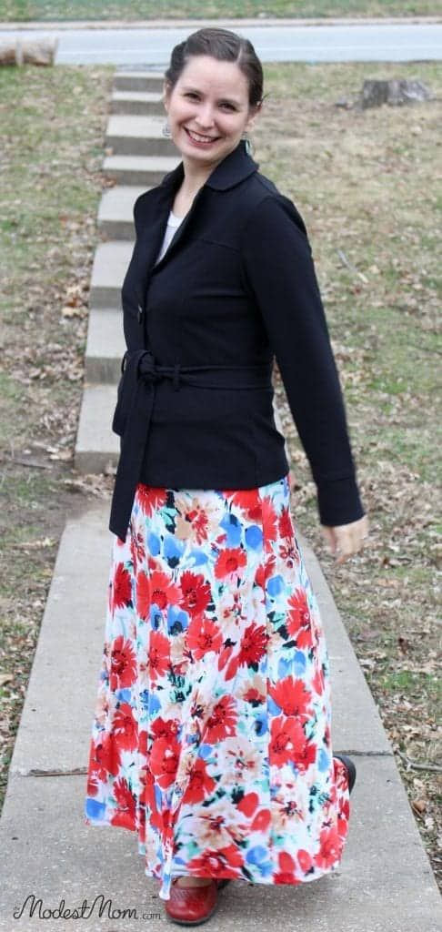 A Red Floral Maxi skirt and a black jacket.