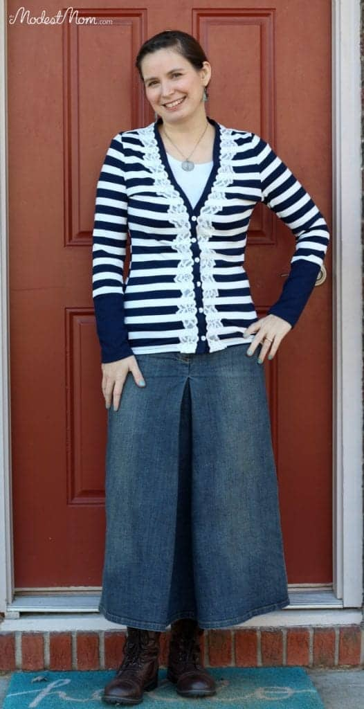 Denim skirt with blue striped cardigan and brown boots!