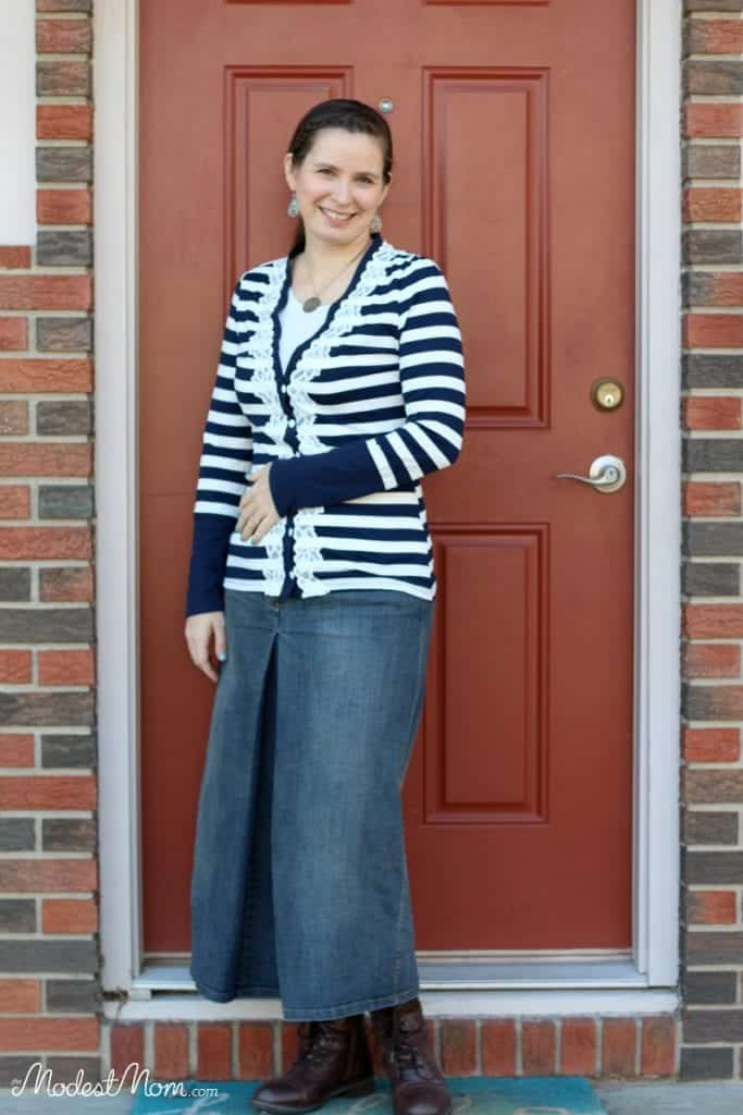 A denim skirt with striped cardigan, and brown boots for a grocery shopping trip!
