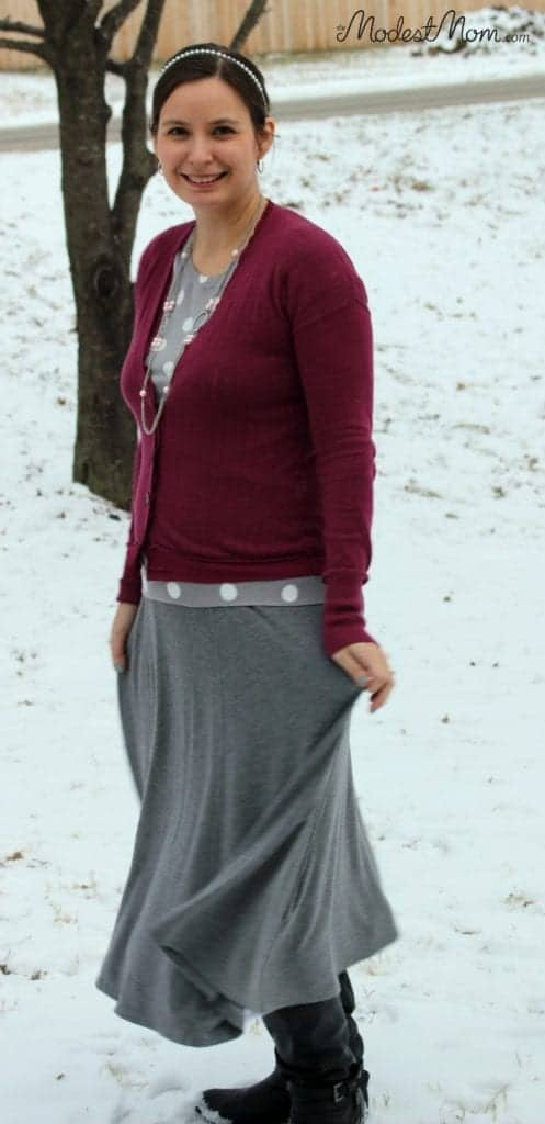 Gray skirt with polka dot shirt and cardigan