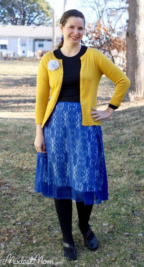Lace Blue Skirt from LulaRoe. This is such a lovely skirt that will be perfect for all seasons!