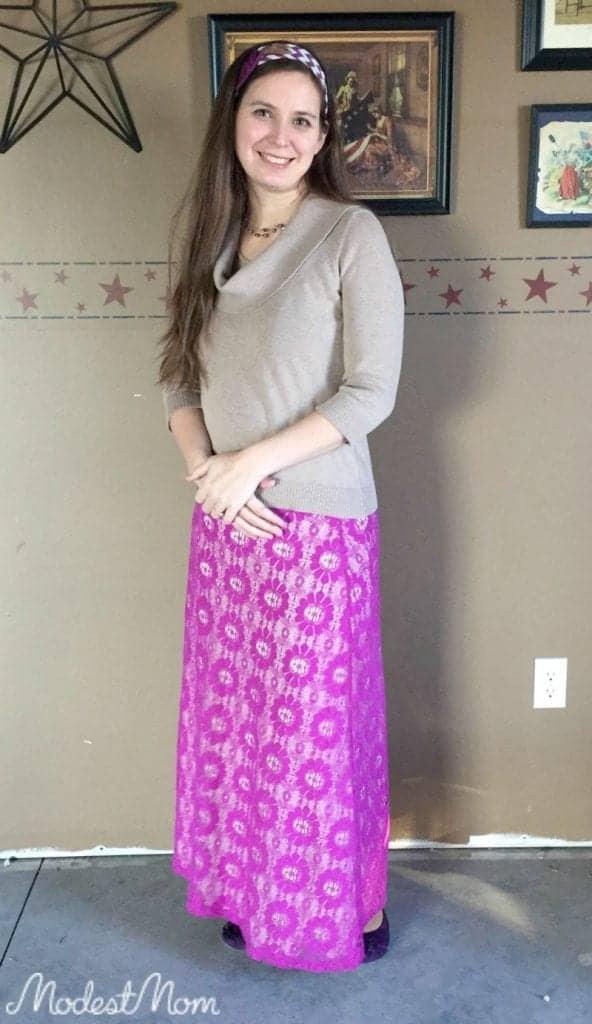 Purple Lace Maxi Skirt