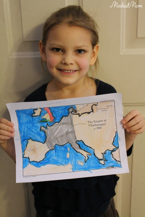 Map work with Tapestry of Grace with a Kindergarten age child! The beauty of homeschooling a large family is you can do subjects together!