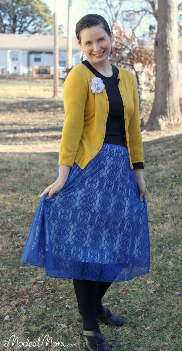 This Lace Lola skirt from Lularoe is just beautiful! I love styling it with a cardigan, and fleece tights to stay warm in the winter time!