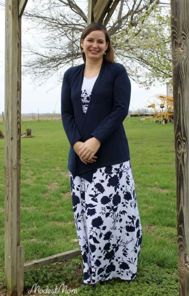 Blue Maxi dress with a navy blue cardigan from Stitch Fix!