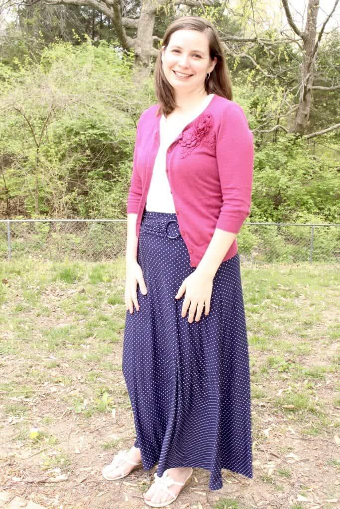 3e1e0d4e759b5 Blue polka dot skirt from Ross! I love the detail on the waistline, and