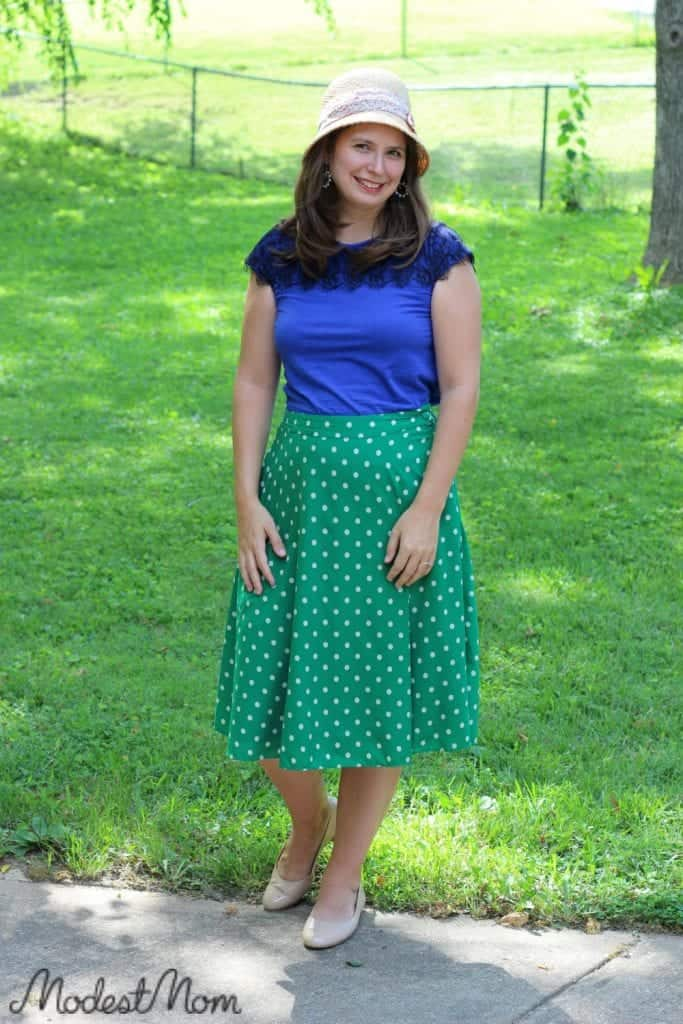 The cheerful polka dot skirt is perfect for the summer months!