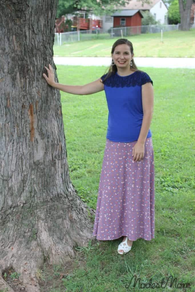 Blue lace shirt with a LulaRoe maxi skirt!