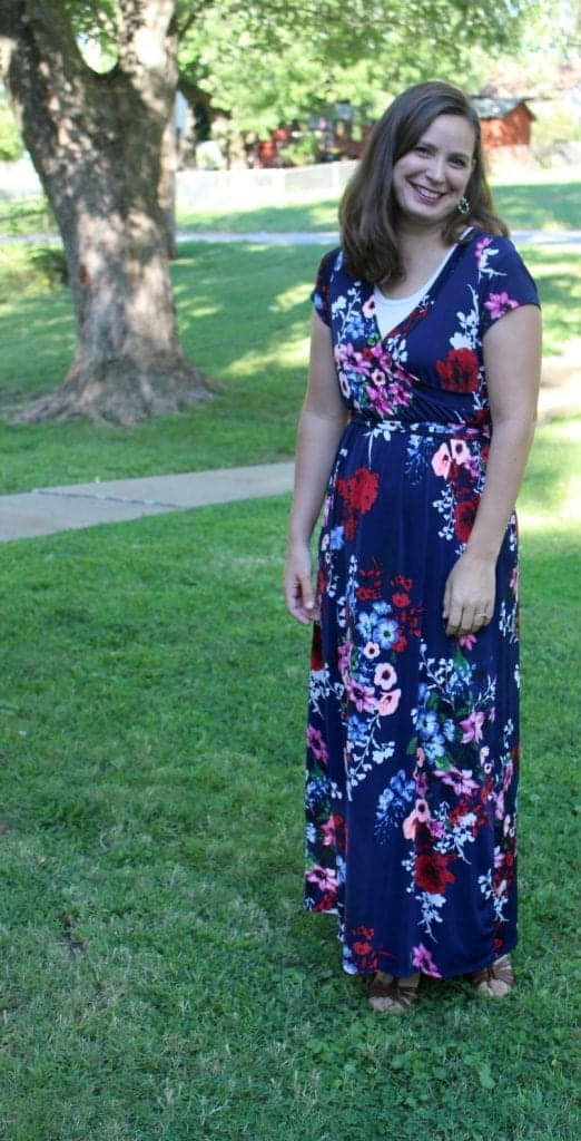 Floral Maxi Dress from Eleventh Avenue, layered with a Halftee.
