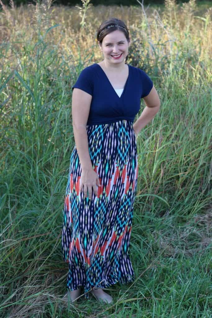 Maxi dress from my Stitch Fix box. A favorite dress, and it's so comfortable! It will be great for fall with a cardigan.