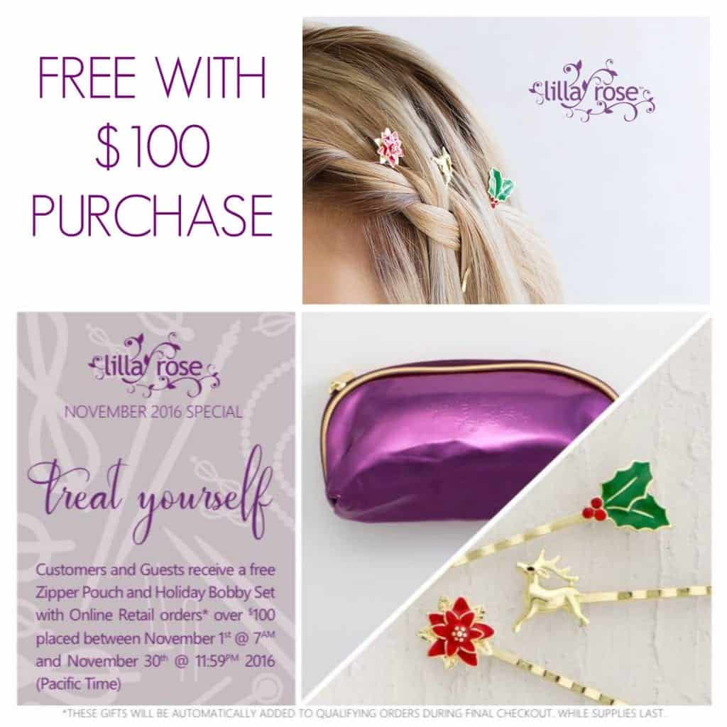Spend $100 with Lilla Rose and get these free bobby pins and purple pouch!