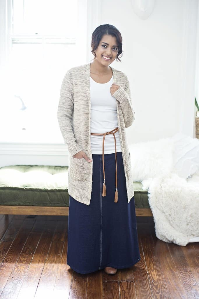Long Denim Skirt that is stretchy like jeggings!