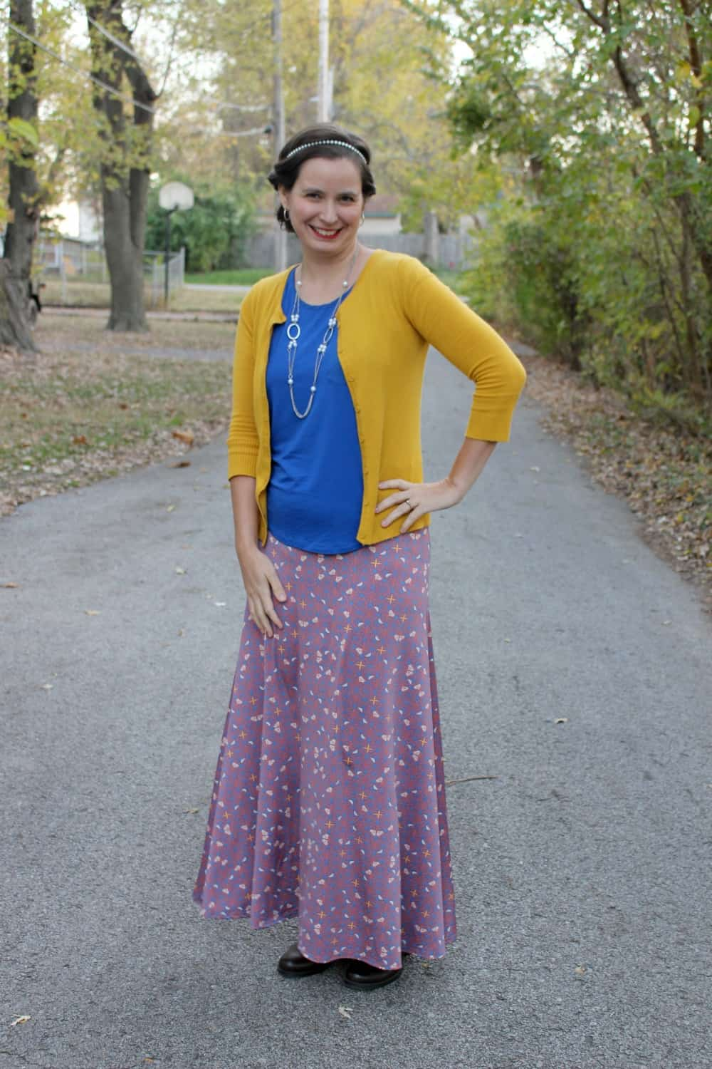 2cad7551c04d LulaRoe maxi skirt with a blue shirt and mustard cardigan.