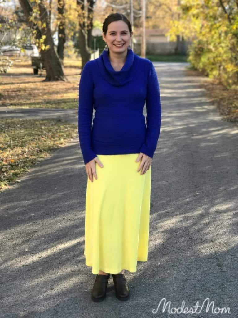 Yellow skirt with blue sweater from Stitch Fix.