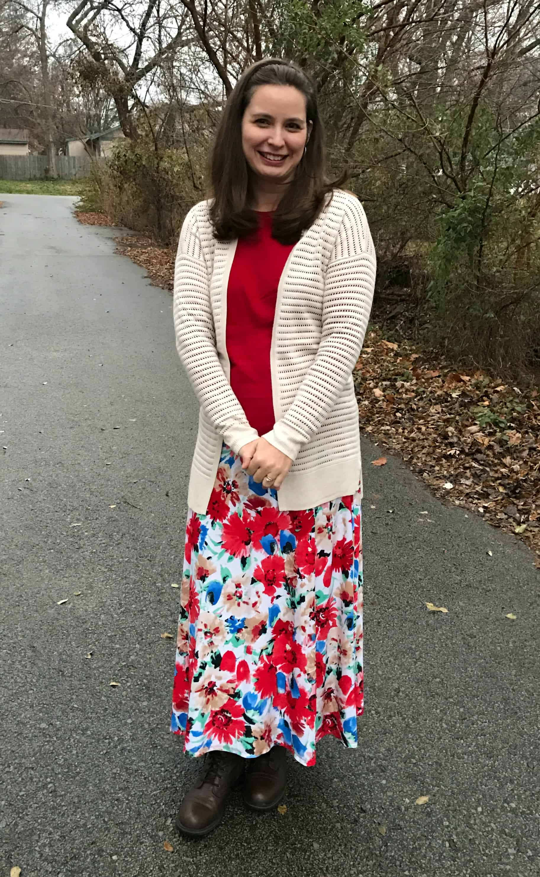 Red Maxi Skirt with long cardigan