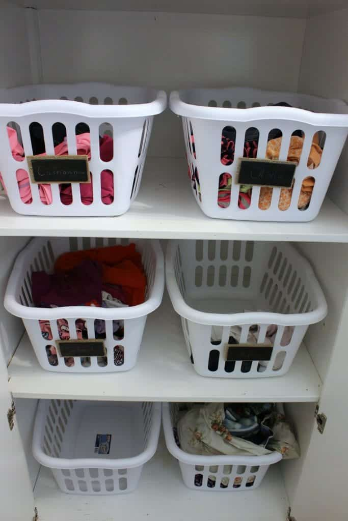 Family Closet set up in the laundry room.