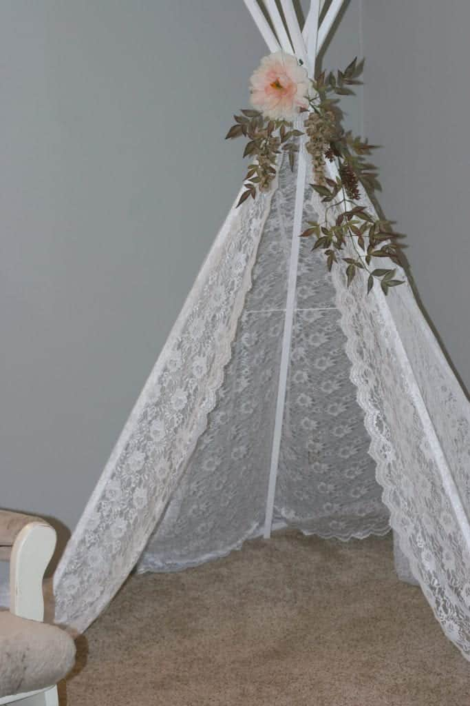 Floral Tepee for a shabby chic baby shower.