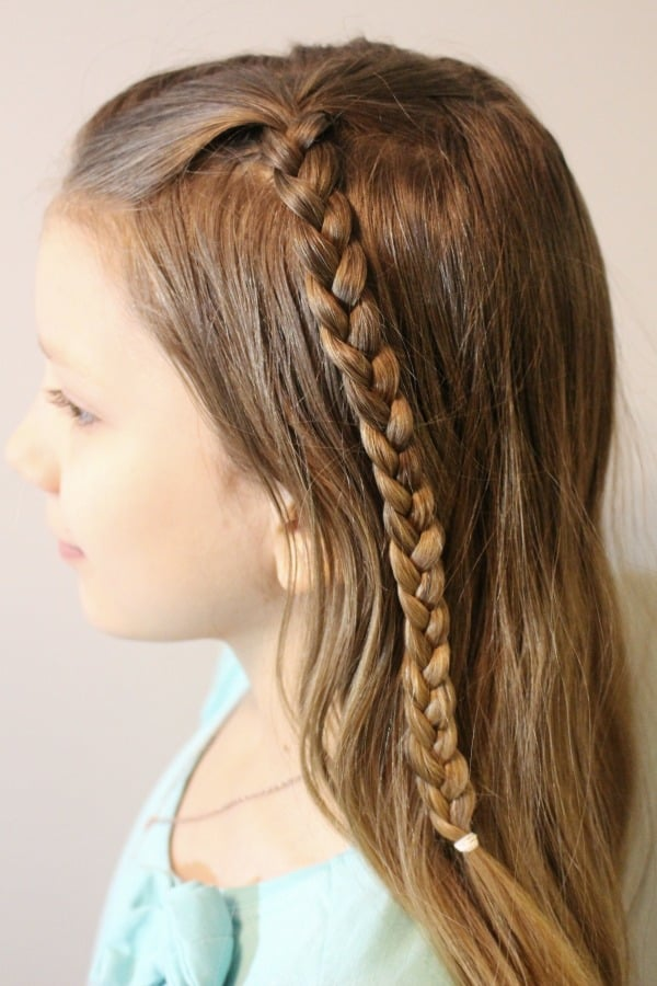 Tripe Braid Hairstyle - step one is to braid two small braids on each side of hair.