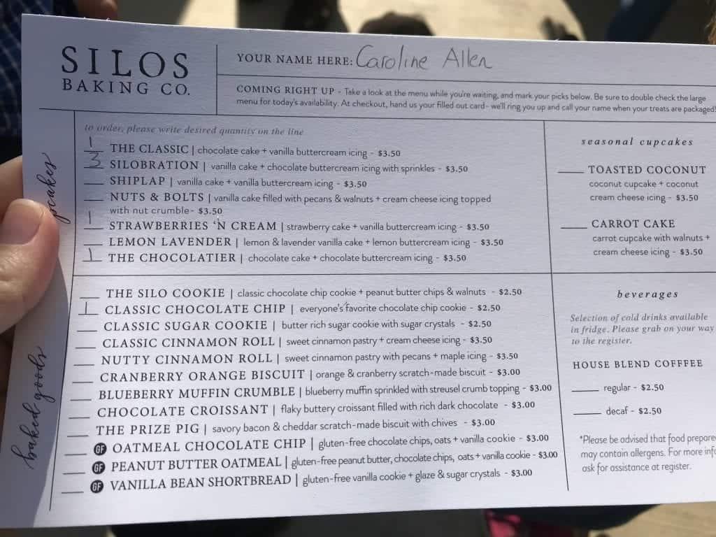 Silos Baking Co. menu!
