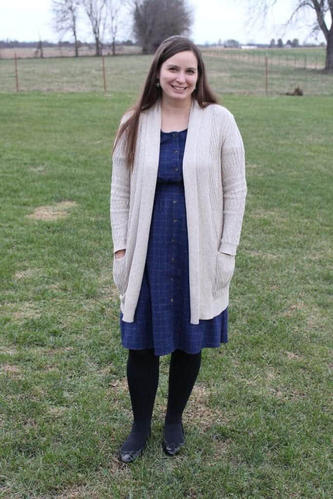 Blue Plaid Dress with Sweater